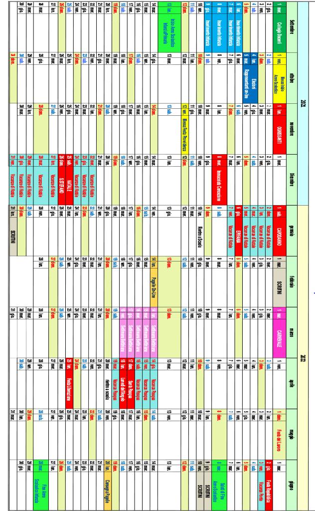 calendario 2021/2022